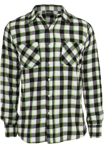 Urban Classics Tricolor Checked Light Flanell T-Shirt - Regular Fit Black/White/Red