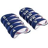 Golf Schläger Eisen Kopfbedeckung USA Flagge Neopren Schlägerhaube Weiß& Blau 10 stück