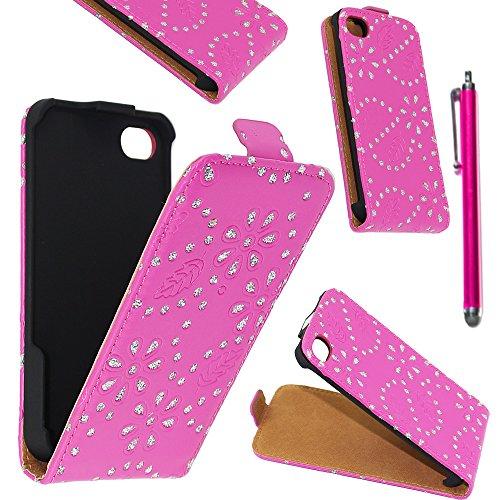 ebestStar - pour Apple iPhone 4S, 4 - Etui Rabat en PU Cuir Motif Strass + Stylet tactile, Couleur Rose [Dimensions PRECISES de votre appareil : 115.2 x 58.6 x 9.3 mm, écran 3.5''] Rose