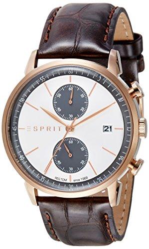 Montre Hommes ESPRIT Quartz - Affichage Chronographe Bracelet Cuir Marron et Cadran Argent ES109181002