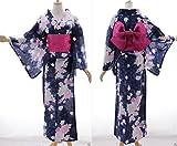 K-71 blau Blumen ORIGINAL Japan Damen Kimono YUKATA OBI Gürtel Baumwolle Kawaii-Story