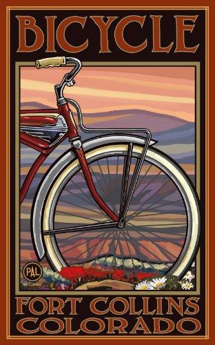 Northwest Art Mall Fort Collins Colorado Old Hälfte Fahrrad Artwork von Paul EIN lanquist, 27,9cm von 43cm