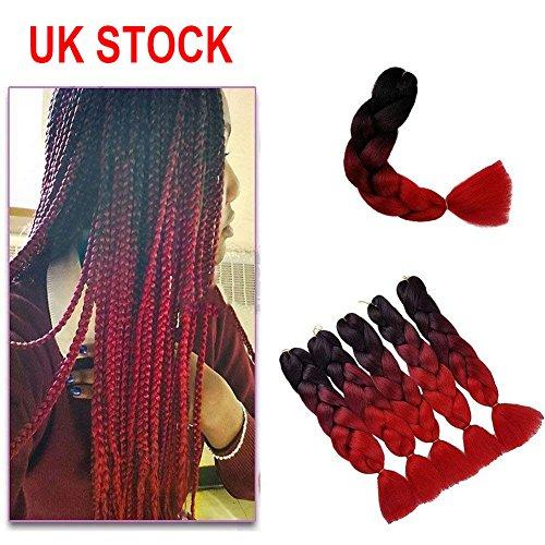 Showjarlly 3pezzi 2tono ombre braiding hair crochet trecce extension sintetiche 61cm