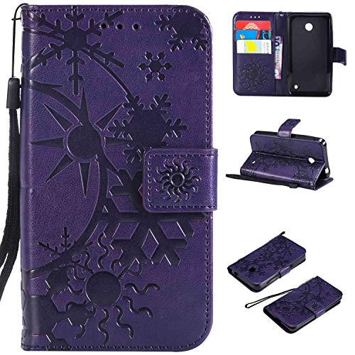 Ycloud Einzigartig PU Leder Tasche für Nokia Lumia 635 Wallet Flipcase mit Standfunktion Kartenfächer Entwurf Sternenhimmel Prägung Lila Hülle