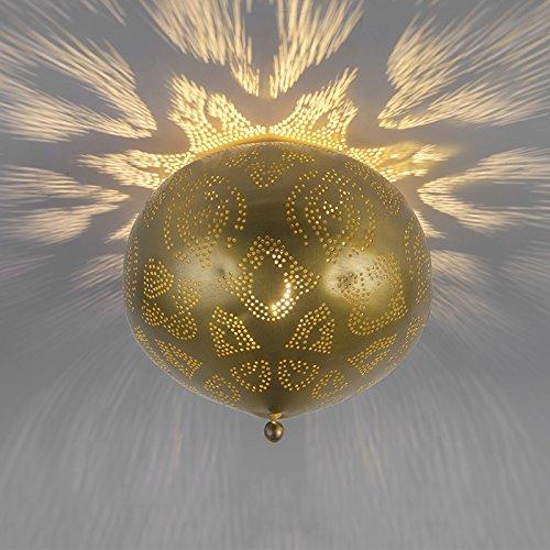 QAZQA Retro Vintage unde Deckenleuchte/Deckenlampe/Lampe/Leuchte Gold/Messing - Zayn/Innenbeleuchtung/Wohnzimmer/Schlafzimmer/Küche Metall Rund LED geeignet E27 Max. 1 x 60 Watt