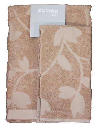 Set spugna coppia 2 pezzi 1+1 ospite 40 x 60 + asciugamano 60 x 110 zucchi basics asciugamani 100% spugna di puro cotone 450 gr/mq (tender beige)