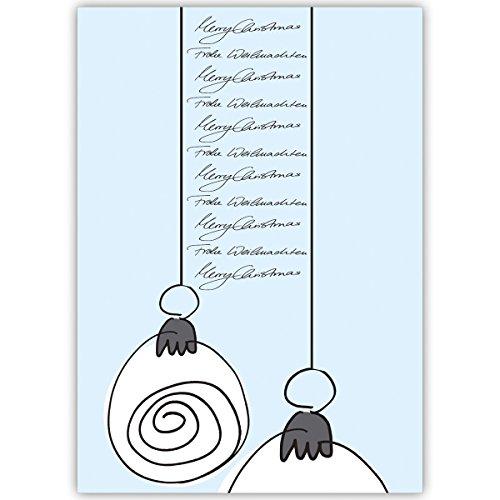 rüße mit Weihnachtskugeln, hellblau, innen blanko/ weiß auch schön als Weihnachtsgrüße geschäftlich / Firmen Glückwunsch zu Neujahr / Unternehmen Weihnachtskarte für Kunden, Geschäftspartner, Mitarbeiter: Merry Christmas (Individuelle Foto-weihnachtskarten)