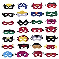 Soneer Superhero Masks,Superhero Party Masks Children Party Masquerade,28 Pieces Superhero Cosplay Masks for Birthday Party, Halloween, Cosplay of aged 3-Plus