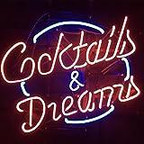 Cocktails und Dreams Echtglas Neon Light Sign Home Bier Bar Kneipe Erholung Raum Spiel Windows der Garage Store (61x 50,8cm den großen)