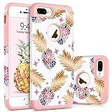BENTOBEN Coque iPhone 8 Plus Anans, Coque pour iPhone 7 Plus, Etui de Protection Résistante Antichoc 2 in 1 Double Couches en PC + Silicone Flexible pour iPhone 7 Plus/8 Plus 5.5 Pouces, Rose