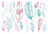 Wandtattoo Kinderzimmer Wandsticker Set Federn mit bunten Mädchenfarben in Past