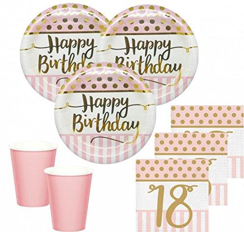 KPW 36 Teile Pink Chic Party Deko Set zum 18. Geburtstag in Rosa und Gold Glanz für 8 Personen