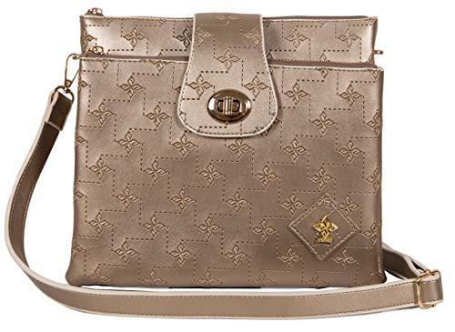 Umhängetasche Damen Crossbody | Handtasche elegant zum Umhängen | Kleine Damen-Handtasche vegan mit vielen Fächern | Damen-Umhängetasche (Gold)