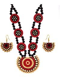 Tandra's Terracotta Red Golden Double Line Necklace Set For Women And Girls