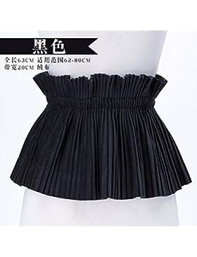 Accesorios cinturón elástico ancho femenino bolso decorativo cadera vestido falda de terciopelo Negro