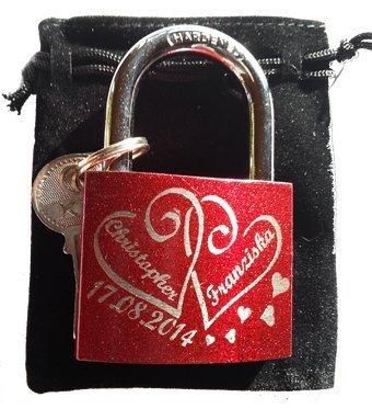 Liebesschloss Rot Wunsch-Gravur beidseitig inkl. Geschenkschachtel