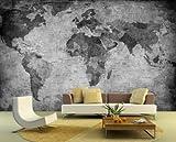 Vlies Fototapete - Weltkarte - retro - schwarz weiss - 155x100 cm - inklusive Kleister - Tapetenkleister – Bild auf Tapete – Bildtapete – Foto auf Tapeten – Wand – Wandtapete – Vliestapete – Wanddeko - Design