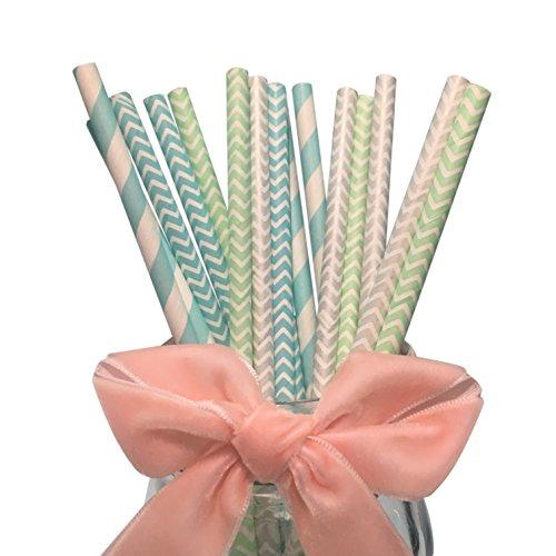 BOFA Papier Colorful Mix Trinkhalme 19,7cm mint grün chevron, Baby Blue Chevron, silber Chevron, blau Streifen (100Stück) (Tinte Mint)