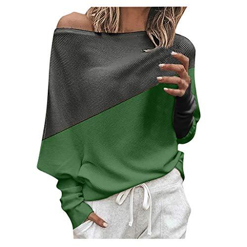 GOKOMO Damen Winter Kaschmir übergroße Pullover lose O-Neck Fledermausärmel Warm gestrickter Oversize Pullover aus Wolle(Grün,XXXXX-Large)