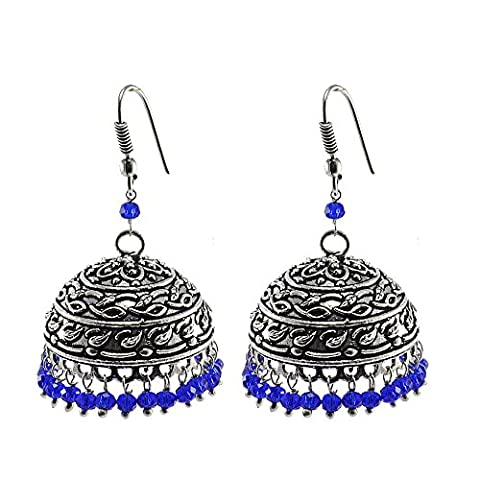Bollywood Belly Dance Women Party Wear Jhumki Chandelier Earring With Smal Blue Crystals PG-102854