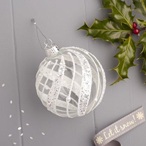 GISELA GRAHAM CHRISTMAS CLEAR GLASS BAUBLE WITH IRID GLITTER LEAF BAND BALL X 3