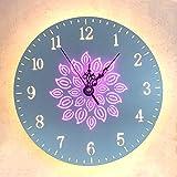 OOFAY LED Blumen Uhr Wandleuchte, 3000K Warmes Lichtkreis Förmige Zahl Klammer Lampe, Weiß 28CM Durchmesser Blaues Helles Puder,A