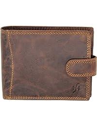 STARHIDE Men's Designer Wallet RFID Blocking Distressed Hunter Vintage Leather Coin Pocket Purse Gift Boxed - 1065 (Brown)