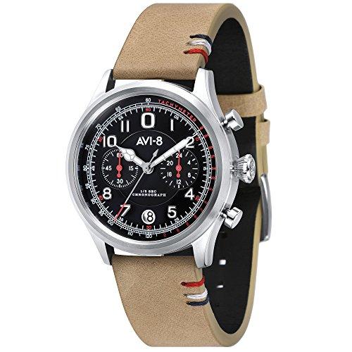 AVI-8 Flyboy Reloj de Hombre Cuarzo 42mm Correa de Cuero dial Negro AV-4054-02