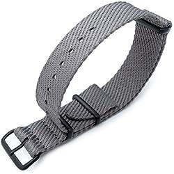 MiLTAT 20mm G10 Military NATO Watch Strap, Waffle Nylon Armband, PVD, Military Grey