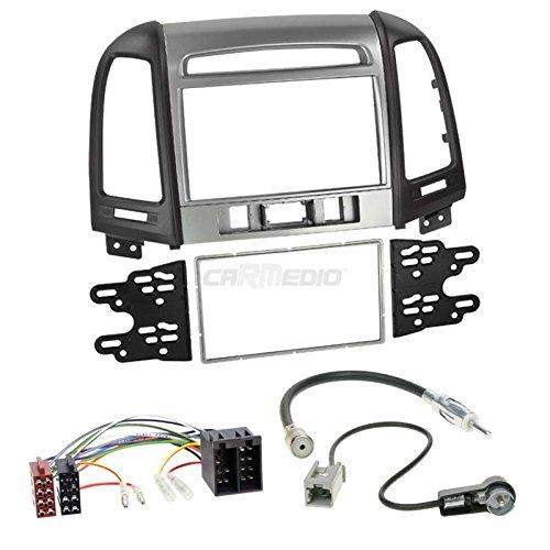 Hyundai Santa Fe CM ab 11 2-DIN Autoradio Einbauset in original Plug&Play Qualität mit Antennenadapter Radioanschlusskabel Zubehör und Radioblende Einbaurahmen schwarz