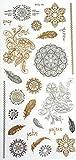 Oh My Shop - TJ22 - Planche Tattoo Tatouage Ephémère Temporaire Métallique Body Art Fleurs Rosaces Plumes - Argent/Or/Noir
