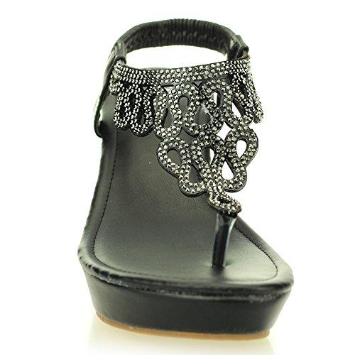 Femmes dames soir confort compensé talon diamante sandale chaussures taille (Noir, Champagne) Noir