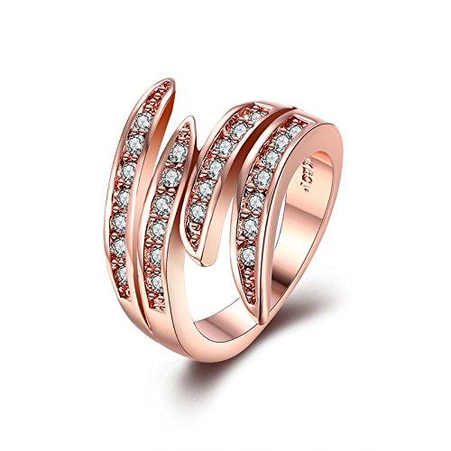 Gnzoe Schmuck 18K Rose Vergoldet Damen Ringe Design Geometric Form mit CZ Rose Gold Gr.52 (16.6) (Versprechen Ringe Zales)