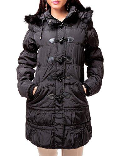 24brands CHICK REBLLE - Damen Winterjacke Dicke Jacke Mantel Steppmantel mit Kapuze & Fell - 2347, Größe:S;Farbe:Schwarz