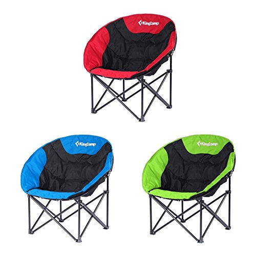 KingCamp Moon Saucer Camping Folding Round Chair Padded Seat Heavy Duty Steel Frame with Cup Holder and Back Pocket