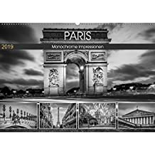 PARIS Monochrome Impressionen (Wandkalender 2019 DIN A2 quer): Französisches Flair und Historie (Monatskalender, 14 Seiten ) (CALVENDO Orte)