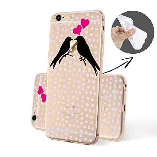 FINOO Coque pour téléphone portable Transparent Silicone Motifs 4 - Barbie SILIKON, Iphone 6/6S Oiseaux Amour 2 SILICONE
