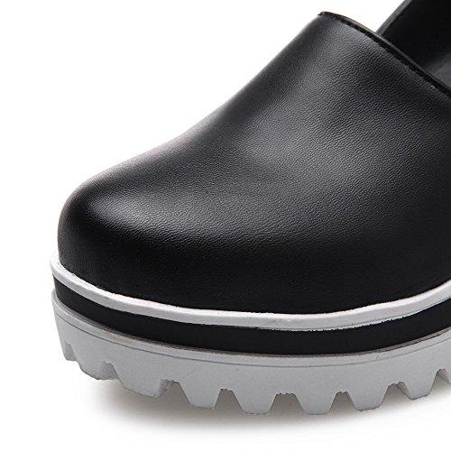 AgooLar Femme Rond à Talon Haut Couleur Unie Élastique Chaussures Légeres Noir