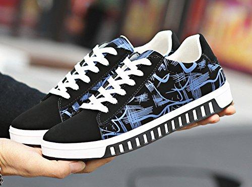 Baskets Casual Basses Lacet Fitness Marche Skateboard Sneakers Chaussures Pour Hommes Noir Bleu