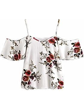 [Sponsorizzato]Elecenty T-shirt Donna Camicia 2018 Moda Manica Lotus Stampa Top Sciolto Chiffon Spalla Nuda Shirt Sling Top Maglie...