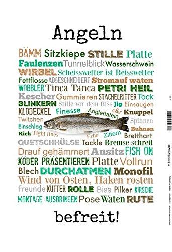 (ComCard Angeln - befreit fischerman Fisch Fishing Schild aus Blech, Metal Sign, tin)
