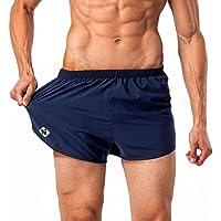Naviskin Hombre Ligero y secado rápido Split Pantalones Cortos Para Correr Pantalones Cortos (sin bragas incorporadas) azul Tamaño L