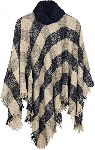 styleBREAKER Strick Poncho mit Karo Tweed Muster und Rollkragen, Fransen, Damen 08010036, Farbe:Dunkelblau-Beige-Grau