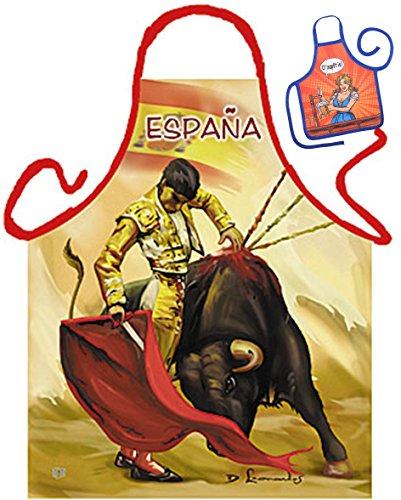 TITAGU Motiv/Themen-Schürze/Grill/Kochschürze Rubrik Spanien: Torrero - Geschenk-Set inkl. Mini-Schürze (Spanien-schürze)