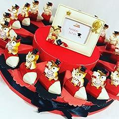 Idea Regalo - Sindy Bomboniere bomboniere laurea gufo tempera matite su torta portaconfetti rossi - Torta 20 fette + 20 gufetti temperamatite + cornice + confetti rossi cioccolato APR