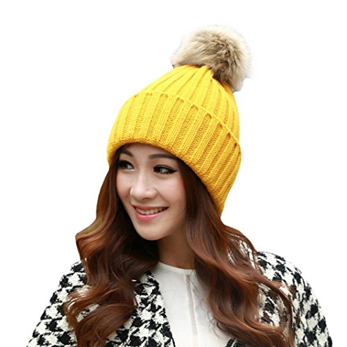 Saingace Mode Kappe,Frauen-Winter-Pelz-Kugel-warmer Hut Häkelarbeit gestrickte Wollkappen (Gelb) (Nerz Pelz Kappe)