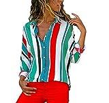 DOTBUY Damen Sweatshirt, Damen Bluse Streifen V-Ausschnitt Langarm Casual Oberteil Lose Langarmshirt Mode Hemd Top