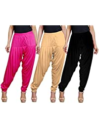 Eazy Trendz Women's Viscose Lycra Solid Patiala Pack Of 3-SKIN_BLACK_RPINK
