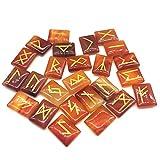 GGSGS Conjunto de Piedras de runas de aventurina de ágata roja, Piedras Preciosas caídas con Palabras de runas talladas para la adivinación/el Regalo Ideal para los coleccionistas de Cristal