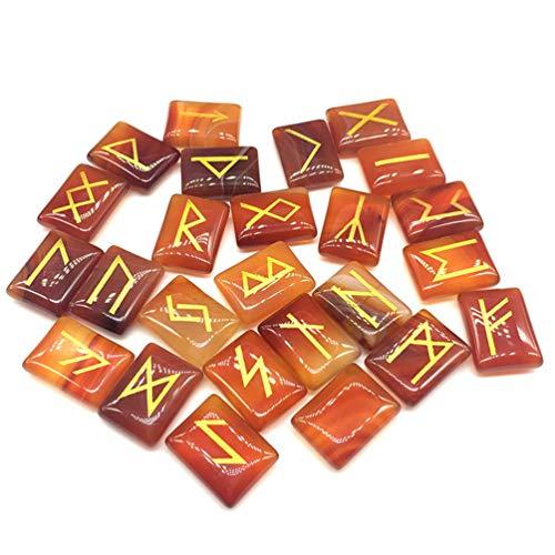 Ggsgs agata rossa aventurine runes pietre incastonate, pietre preziose burattate con parole di rune intagliate per la fortuna. il dono ideale per i collezionisti di cristallo